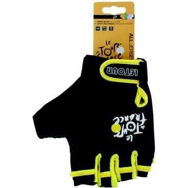 Перчатки 5-719976   р-р L черно-желтые с петельками TOUR DE FRANCEВелоперчатки<br>гелевые, с лайкрой, дыщащий материал, ладонь с антискользящим покрытием, с петельками для более легкого и удобного снятия с ладони, эластичная манжета на липучке, черно-желтые, блистер<br>