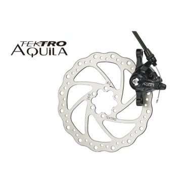 Тормозной набор велосипедный TEKTRO диск. мех. передний Aquila MD-M500 ротор 160мм 6-500Тормоза на велосипед<br>NEW, MD-M500 облегченный тормозной ротор Wave Design ?160мм, алюминиевый калипер, универсальный - передний/задний, тормозные колодки, крепеж, совместим со всеми типами вилок под дисковые тормоза, черный<br>