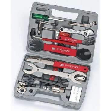Набор 6-14735 инструментов YC-735A универсальный 19 позиций профи в кейсе BIKEHANDВелоинструменты<br>NEW, ALL IN ONE, аптечка, монтировки, выжимка, ключи, съемники и пр., для сборки/разборки/ настройки/ регулировки и ремонта велосипеда, в пластиковом кейсе<br>