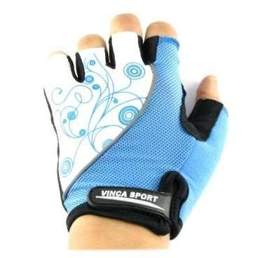 Перчатки велосипедные женские, белые с синим, размер ХS, Vinca sport VG 927 white/blue (XS)Велоперчатки<br><br>