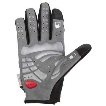 Перчатки длин. гель/лайкра дыш. д/сенсора антискольз. M (5) с защитой черно-серые M-Wave, 5-719857Велоперчатки<br>Перчатки длинные гель/лайкра дышащие, для сенсора, антискользящие, с защитой, черно-серые M-WAVE<br>