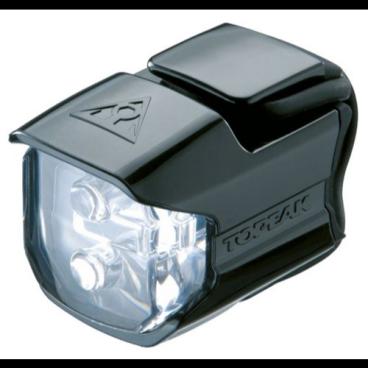 Фара передняя TOPEAK WhiteLite Race. TMS065Фары и фонари для велосипеда<br>Фара передняя TOPEAK WhiteLite Race<br>Габаритный фонарик с 2 яркими светодиодами и удобным эластичным креплением. Водостойкий<br>Артикул TMS065<br>Особенности:<br>- водонепроницаемый корпус;<br>- для включения-выключения и переключения между режимами нужно нажать на линзу;<br>- фара крепится без использования дополнительных инструментов к рулю с помощью резинового стрэпа;<br>- работает от двух батареек.<br><br>Характеристики:<br>- источники освещения: два очень ярких белых светодиода;<br>- источник питания: две батарейки CR2032 (поставляются в комплекте);<br>- режимы работы: постоянное свечение, мигание;<br>- приблизительное время работы, ч: 70 в режиме постоянного свечения и 140 в режиме мигания;<br>- сила света, кд: 25;<br>- материал корпуса: пластмасса;<br>- крепление: на руль (диаметр от 25,4 до 31,8 мм);<br>- размеры, см: 7 х 3,8 х 3,6;<br>- вес, г: 40.<br>