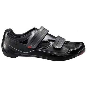 Велотуфли Shimano SH-R065L, р-р 41 черный ESHR065G410LВелообувь<br>Shimano SH-R065L SPD-SL <br>Универсальные туфли для спортивной езды. Оригинальный дизайн с фирменными знаками качества. <br>Синтетическая кожа высокой плотности и сетка<br>Двойные ремешки велкро обеспечивают необходимый комфорт и поддержку<br>СТЕЛЬКА<br>Плоская стелька для комфорта, равномерной амортизации и легкости<br>КОЛОДКА<br>SHIMANO Dynalast обеспечивает точное прилегание и повышает эффективность педалирования<br>ПОДОШВА<br>Легкая полиамидная подошва, усиленная стекловолокном<br>Удобны для занятий в помещениях, совместимы с шипами SPD и SPD-SL<br>Лучше всего сочетаются с PD-R550, R540, PD-540-LA, PD-A520* (*Педали SPD могут использоваться только с шипами SPD с адаптером SM-SH40)<br>Индикатор жесткости 6<br>Вес 480 гр<br>Размеры: 41<br>