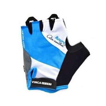 Перчатки велосипедные, AZURO, гелевые вставки, цвет белый с голубым, размер S VG 933 blue azuro (S)Велоперчатки<br>Перчатки велосипедные, AZURO, гелевые вставки, цвет белый с голубым,  лёгкие воздухопроницаемые перчатки с усилением ладошки, плоской петлёй для снятия с руки и  липучкой;<br>Индивидуальная упаковка Vinca sport<br>Характеристики<br>Материал внешней сторонылайкра<br>Материал тыльной сторонысерая амара<br>Наличие гелягелевая вставка<br>Размер:  S<br>Артикул: VG 933 blue azuro(S)<br>