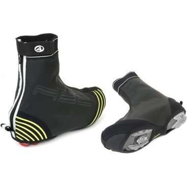 Защита обуви  AUTHOR H2O-PROOF, черная со светоотражающими вставками, 8-7202071Велообувь<br>Новинка! Специально разработаны для использования в дождливую погоду, водонепроницаемая эластичная мембрана в комбинации с неопреном обеспечивает  прекрасную защиту от влаги, полностью герметичные швы, укрепленные носы для повышенной износостойкости, застежка на липучке и молнии.<br>Подходит для всех типов педалей, <br>Неоновые светоотражающие элементы для дополнительной безопасности, <br> Цвет: черный,<br>Упаковка: блистер<br>