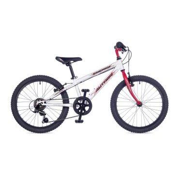 Детский велосипед AUTHOR Energy SX 20 2016Детские<br>AUTHOR Energy SX  20 2016<br>Детский велосипед с 20-ти дюймовыми колесами – для тех детей, которые уже вовсю катается. Надежное оборудование Shimano на 6 передач, аммортизационная вилка, крепкая стальная рама и ободные тормоза типа V-brake (передний и задний). Подходит на рост 115-135 см.<br><br><br><br><br><br><br>Общие характеристики<br><br><br>Модель<br>2016 года<br><br><br>Тип<br>подростковый<br><br><br>Область применения<br>горный (MTB)<br><br><br>Вес велосипеда<br>10.8 кг<br><br><br>Рама, вилка<br><br><br>Материал рамы<br>сталь<br><br><br>Размеры рамы<br>10.0 дюйм<br><br><br>Амортизация<br>Есть<br><br><br>Конструкция вилки<br>Амортизационная<br><br><br>Конструкция рулевой колонки<br>неинтегрированная, резьбовая<br><br><br>Размер рулевой колонки<br>VP COMP  1<br><br><br>Колеса<br><br><br>Диаметр колес<br>20 дюймов<br><br><br>Наименование покрышек<br>20x1.75<br><br><br>Материал обода<br>алюминиевый сплав<br><br><br>Двойной обод<br>нет<br><br><br>Материал бортировочного шнура<br>металл<br><br><br>Торможение<br><br><br>Наименование переднего тормоза<br>Tektro 855AL<br><br><br>Тип переднего тормоза<br>ободной (V-Brake)<br><br><br>Уровень переднего тормоза<br>прогулочный<br><br><br>Наименование заднего тормоза<br>Tektro 855AL<br><br><br>Тип заднего тормоза<br>ободной (V-Brake)<br><br><br>Уровень заднего тормоза<br>прогулочный<br><br><br>Трансмиссия<br><br><br>Количество скоростей<br>6<br><br><br>Уровень заднего переключателя<br>начальный<br><br><br>Наименование заднего переключателя<br>Shimano Tourney RD-TY21 <br><br><br>Уровень манеток<br>начальный<br><br><br>Наименование манеток<br>Shimano RevoShift<br><br><br>Конструкция манеток<br>вращающаяся ручка<br><br><br>Уровень каретки<br>начальный<br><br><br>Наименование каретки<br>VP Comp<br><br><br>Конструкция каретки<br>неинтегрированная<br><br><br>Тип посадочной части вала каретки<br>квадрат<br><br><br>Уровень кассеты<br>начальный<br><br><br>Наименование кассеты<br>