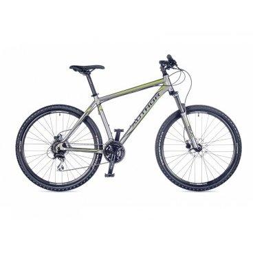 Горный велосипед AUTHOR Solution 2016Горные (MTB)<br>Author Solution 2016<br>Author Solution с 2016 года поставляется с новым размером колес - 27,5. Уже ни для кого не секрет, что велосипеды с этим размером колес обладают лучшим накатом, относительно таких же с 26-размером и прекрасно управляются, в отличии от найнеров. Кроме того, на этот байк установлены дисковые гидравлические тормоза, которые прекрасно работают в любых условиях. По-прежнему, велосипед оборудован среднего класса оборудованием Shimano Acera, переключающее 24 скорости, пружинно-эластомерной вилкой с регулировкой жесткости и блокировкой хода, да и рама изготовлена по тем же технологиям, которые делают ее жесткой и прочной. <br><br><br><br><br><br><br>Общие характеристики<br><br><br>Модель<br>2016 года<br><br><br>Тип<br>для взрослых<br><br><br>Область применения<br>горный (MTB), кросс-кантри<br><br><br>Вес велосипеда<br>13.9 kg / 19<br><br><br>Рама, вилка<br><br><br>Материал рамы<br>алюминиевый сплав<br><br><br>Размеры рамы<br>15, 17, 19, 21<br><br><br>Амортизация<br>Hard tail (с амортизационной вилкой)<br><br><br>Наименование мягкой вилки<br>RST Gila ML 27.5<br><br><br>Конструкция вилки<br>пружинно-эластомерная<br><br><br>Уровень мягкой вилки<br>прогулочный<br><br><br>Ход вилки<br>100 мм<br><br><br>Регулировки вилки<br>жесткости пружины, блокировка хода<br><br><br>Конструкция рулевой колонки<br>интегрированная, безрезьбовая<br><br><br>Размер рулевой колонки<br>1 1/8<br><br><br>Колеса<br><br><br>Диаметр колес<br>27,5 дюймов<br><br><br>Наименование покрышек<br>Author Rocket, 27.5x2.1<br><br><br>Наименование ободов<br>Author Radon<br><br><br>Материал обода<br>алюминиевый сплав<br><br><br>Двойной обод<br>есть<br><br><br>Торможение<br><br><br>Наименование переднего тормоза<br>Tektro Auriga, 160mm<br><br><br>Тип переднего тормоза<br>дисковый гидравлический<br><br><br>Уровень переднего тормоза<br>спортивный<br><br><br>Наименование заднего тормоза<br>Tektro Auriga, 160mm<br><br><br>Тип заднего тормоза<br>ди