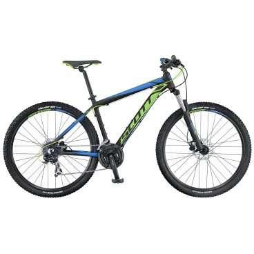Горный велосипед Scott Aspect 760 2016Горные (MTB)<br>Scott Aspect 760 2016<br>Горный велосипед Scott Aspect 760 2016, с 21 скоростями. Велосипед отлично подойдет как для велопрогулки или туризма, так и для более агрессивной езды по пересеченной местности. В комплектацию входят гидравлические дисковые тормоза, обеспечивающие значительно лучшие показатели эффективности и контроля торможения.<br><br><br><br><br><br><br>Общие характеристики<br><br><br>Модель<br>2016 года<br><br><br>Тип<br>для взрослых<br><br><br>Область применения<br>горный (MTB), кросс-кантри<br><br><br>Вес велосипеда<br>13.7 кг<br><br><br>Рама, вилка<br><br><br>Материал рамы<br>алюминиевый сплав<br><br><br>Размеры рамы<br>14.0, 15.55, 17.32, 18.89, 20.86<br><br><br>Амортизация<br>Hard tail (с амортизационной вилкой)<br><br><br>Наименование мягкой вилки<br>HL Zoom 565-27.5<br><br><br>Конструкция вилки<br>пружинно-эластомерная<br><br><br>Уровень мягкой вилки<br>начальный<br><br><br>Ход вилки<br>100 мм<br><br>Конструкция рулевой колонки<br>безрезьбовая<br><br><br>Колеса<br><br><br>Диаметр колес<br>27.5 дюймов<br><br><br>Наименование покрышек<br>Kenda Slant 6, 27.5x2.1, 30TPI<br><br><br>Наименование ободов<br>Syncros X-37 Disc<br><br><br>Материал обода<br>алюминиевый сплав<br><br><br>Двойной обод<br>есть<br><br><br>Торможение<br><br><br>Наименование переднего тормоза<br>Tektro SCH-F15, 160mm<br><br><br>Тип переднего тормоза<br>дисковый гидравлический<br><br><br>Уровень переднего тормоза<br>спортивный<br><br><br>Наименование заднего тормоза<br>Tektro SCH-F15, 160mm<br><br><br>Тип заднего тормоза<br>дисковый гидравлический<br><br><br>Уровень заднего тормоза<br>спортивный<br><br><br>Возможность крепления дискового тормоза<br>рама, вилка, втулки<br><br><br>Трансмиссия<br><br><br>Количество скоростей<br>21<br><br><br>Уровень заднего переключателя<br>начальный<br><br><br>Наименование заднего переключателя<br>Shimano Tourney RD-TX35<br><br><br>Уровень переднего переключателя<br>начальный<br><br><br>Наименование