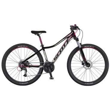 Женский горный велосипед Scott Contessa 720 2016Горные (MTB)<br>Scott Contessa 720 2016<br>Scott Contessa 720 - это велосипед созданный для женщин. Комфортный и одновременно спортивный, помогает оставаться в форме. Прекрасно подойдет для городских покатушек и вылазок на природу. <br><br><br><br><br><br><br>Общие характеристики<br><br><br>Модель<br>2016 года<br><br><br>Тип<br>для взрослых, женская модель<br><br><br>Область применения<br>горный (MTB), кросс-кантри<br><br><br>Вес велосипеда<br>14,1 кг<br><br><br>Рама, вилка<br><br><br>Материал рамы<br>алюминиевый сплав<br><br><br>Размеры рамы<br>13.38, 14.56, 16.14, 18.11<br><br><br>Амортизация<br>Hard tail (с амортизационной вилкой)<br><br><br>Наименование мягкой вилки<br>SR Suntour XCM-HLO<br><br><br>Конструкция вилки<br>пружинно-масляная<br><br><br>Уровень мягкой вилки<br>спортивный<br><br><br>Ход вилки<br>100 мм<br><br><br>Регулировки вилки<br>жесткости пружины, блокировка хода<br><br><br>Конструкция рулевой колонки<br>безрезьбовая<br><br><br>Колеса<br><br><br>Диаметр колес<br>27.5 дюймов<br><br><br>Наименование покрышек<br>Kenda Slant 6, 27.5x2.1, 30TPI<br><br><br>Наименование ободов<br>Syncros X-37 Disc<br><br><br>Материал обода<br>алюминиевый сплав<br><br><br>Двойной обод<br>есть<br><br><br>Торможение<br><br><br>Наименование переднего тормоза<br>Tektro, 160mm<br><br><br>Тип переднего тормоза<br>дисковый гидравлический<br><br><br>Уровень переднего тормоза<br>спортивный<br><br><br>Наименование заднего тормоза<br>Tektro, 160mm<br><br><br>Тип заднего тормоза<br>дисковый гидравлический<br><br><br>Уровень заднего тормоза<br>спортивный<br><br><br>Возможность крепления дискового тормоза<br>рама, вилка, втулки<br><br><br>Трансмиссия<br><br><br>Количество скоростей<br>24<br><br><br>Уровень заднего переключателя<br>прогулочный<br><br><br>Наименование заднего переключателя<br>Shimano Altus RD-M370<br><br><br>Уровень переднего переключателя<br>начальный<br><br><br>Наименование переднего переключателя<br>Shimano FD-M190, 31.8
