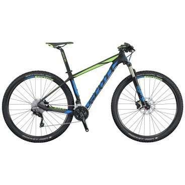 Горный велосипед Scott Scale 735 2016Горные (MTB)<br>Scott Scale 735 2016<br>Велосипеды Scale 700 используют новый стандарт 27.5 колеса и предназначены для достижения максимальной эффективности и минимального веса. Эти велосипеды имеют 100 mm ход передней подвески и являются самыми легкими в своем классе. В арсенале Scott Scale 735 2016 присутствуют: высококачественная карбоновая рама, достаточно легкая вилка фирмы Fox, а так же очень крепкие компоненты привода и томозов от фирмы Shimano. В сочетании это подарить вам отличный накат в любой местности и подарить много положительных эмоций. <br><br><br><br><br><br><br>Общие характеристики<br><br><br>Модель<br>2016 года<br><br><br>Тип<br>для взрослых<br><br><br>Область применения<br>горный (MTB), кросс-кантри<br><br><br>Вес велосипеда<br>10.9 кг<br><br><br>Рама, вилка<br><br><br>Материал рамы<br>карбон (углепластик)<br><br><br>Размеры рамы<br>15.35, 17.32, 18.89, 20.86<br><br><br>Амортизация<br>Hard tail (с амортизационной вилкой)<br><br><br>Наименование мягкой вилки<br>Fox 32 Float Performance Air FIT4 3-Modes<br><br><br>Конструкция вилки<br>воздушно-масляная<br><br><br>Уровень мягкой вилки<br>профессиональный<br><br><br>Ход вилки<br>100 мм<br><br><br>Регулировки вилки<br>жесткости пружины, скорости сжатия, скорости обратного хода, блокировка хода<br><br><br>Другие регулировки<br>Scott RideLoc Downside Remote 3 modes<br><br><br>Конструкция рулевой колонки<br>полуинтегрированная, безрезьбовая<br><br><br>Размер рулевой колонки<br>1 1/8- 1 1/2<br><br><br>Колеса<br><br><br>Диаметр колес<br>27.5 дюймов<br><br><br>Наименование покрышек<br>Schwalbe Rocket Ron, 27.5x2.1, 67EPI, Performance<br><br><br>Наименование ободов<br>Syncros X-21<br><br><br>Материал обода<br>алюминиевый сплав<br><br><br>Двойной обод<br>есть<br><br><br>Материал бортировочного шнура<br>кевлар<br><br><br>Торможение<br><br><br>Наименование переднего тормоза<br>Shimano BR-M396, 180mm<br><br><br>Тип переднего тормоза<br>дисковый гидравлический<br><br><br>Урове