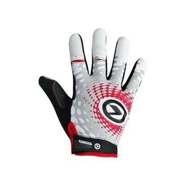 Перчатки KELLYS  IMPACT LONG Lycra, белый/серый/красный, MВелоперчатки<br>Перчатки с длинными пальцами IMPACT LONG&amp;nbsp;- неотъемлемая часть вело обмундирования каждого байкера.&amp;nbsp;  Эти перчатки обеспечивают трехмерную защиту - защита ладоней от ссадин при падении, защита от натирания рук об руль и мозолей, защита от падений и столкновений при снижении управляемости.  При долгой езде руки могут вспотеть, ведь именно на них переносится центр тяжести маунтинбайкера, руки находятся в напряжении. Перчатки из лайкры отводят влагу и она отлично испаряется с поверхности перчаток.  Для обеспечения максимального сцепления с рулем сторона ладони перчаток проштампована силиконовым принтом.&amp;nbsp;  Специальные прорези на указательном и среднем пальцах обеспечивают свободу движений рукой.  Браслет с застежкой на липучке позволит подкорректировать размер в области запястья.&amp;nbsp;     Перчатки&amp;nbsp;KELLYS IMPACT LONG&amp;nbsp;Lyra:  Материал:&amp;nbsp;лайкра.  Цвет:&amp;nbsp;белый/серый/красный.  Размер:&amp;nbsp;М.  Дополнительно:&amp;nbsp;прорези на пальцах для свободы движений.<br>