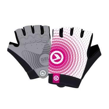 Перчатки KELLYS INSTINCT short, без пальцев, бело-розовые, LВелоперчатки<br>Вело перчатки созданы не для согревания рук, как обычные перчатки. Они наделены более важной миссией - защита от мозолей и повреждений кожи рук, вызванных падением.  Для того, чтобы Ваши руки были в порядке, и Вы оставили в прошлом все, что связано с натиранием и мозолями, короткопалые перчатки KELLYS INSTINCT short снабжены мягкими подушечками в области ладони&amp;nbsp;c гелем.  Для лучшего сцепления с рулем, а значит, и лучшей управляемости, на ладонях проштампован силиконовый рисунок.  Для улучшения вентиляции - поверхность перчаток изготовлена из сетчатого проветриваемого материала - лайкры.  Для простого и быстрого натягивания перчатки предусмотрен специальный удлиненный язычок с объемным логотипом.  Перчатки KELLYS INSTINCT short вобрали в себя только лучшие качества. Для Вашего комфорта!     Перчатки&amp;nbsp;KELLYS INSTINCT short:  Материал:&amp;nbsp;лайкра, синтетическая кожа.  Тип:&amp;nbsp;без пальцев.  Цвет:&amp;nbsp;белый/розовый.  Размер:&amp;nbsp;L.<br>