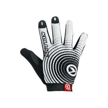 Перчатки KELLYS INSTINCT long, бело-чёрные, L, Gloves INSTINCT long , white/black LВелоперчатки<br>Почему-то не все велосипедисты уделяют должное внимание вело перчаткам. Считают, что руки, ноющие от мозолей, - это норма для байкера.  С этим можно поспорить. Если есть возможность избежать натирания рук от руль и можно перестраховаться на случай непредвиденного падения, то почему бы этого не сделать?  Перчатки KELLYS INSTINCT long&amp;nbsp;очень легкие, садятся на кисть, как влитые. Это было достигнуто путем использования тонкого сетчатого материала - лайкры. Она отлично вентилируемая, руки никогда не будут мокрыми в перчатках, поскольку ткань быстро отводит влагу с кожи и так же быстро высыхает.  Для достижения отличного сцепления с рулем ладонь перчаток INSTINCT long изготовлена из синтетической кожи с мягкими гелевыми вставками и силиконовой печатью по всей поверхности.  Для облегчения процесса натягивания перчаток, сторона ладони немного удлинена - это специальный язычок и 3D логотипом.  В области большого пальца предусмотрена специальная махровая абсорбирующая вставка.     Перчатки&amp;nbsp;KELLYS INSTINCT long:  Материал:&amp;nbsp;лайкра, синтетическая кожа.  Цвет:&amp;nbsp;белый/черный.  Размер:&amp;nbsp;L.<br>