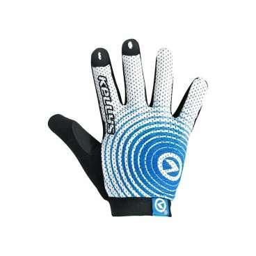 Перчатки KELLYS INSTINCT long, бело-синие, XL, Gloves INSTINCT long , white/blue XLВелоперчатки<br>Почему-то не все велосипедисты уделяют должное внимание вело перчаткам. Считают, что руки, ноющие от мозолей, - это норма для байкера.  С этим можно поспорить. Если есть возможность избежать натирания рук от руль и можно перестраховаться на случай непредвиденного падения, то почему бы этого не сделать?  Перчатки KELLYS INSTINCT long&amp;nbsp;очень легкие, садятся на кисть, как влитые. Это было достигнуто путем использования тонкого сетчатого материала - лайкры. Она отлично вентилируемая, руки никогда не будут мокрыми в перчатках, поскольку ткань быстро отводит влагу с кожи и так же быстро высыхает.  Для достижения отличного сцепления с рулем ладонь перчаток INSTINCT long изготовлена из синтетической кожи с мягкими гелевыми вставками и силиконовой печатью по всей поверхности.  Для облегчения процесса натягивания перчаток, сторона ладони немного удлинена - это специальный язычок и 3D логотипом.  В области большого пальца предусмотрена специальная махровая абсорбирующая вставка.     Перчатки&amp;nbsp;KELLYS INSTINCT long:  Материал:&amp;nbsp;лайкра, синтетическая кожа.  Цвет:&amp;nbsp;белый/синий.  Размер:&amp;nbsp;ХL.<br>