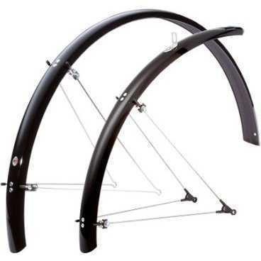 Крылья SKS Bluemels 43мм, 28, чёрные, Trekking, с направляющей для провода, 11187Крылья для велосипедов<br>SKS Крылья Bluemels 43мм, 28, чёрные, Trekking, с направляющей для провода<br>