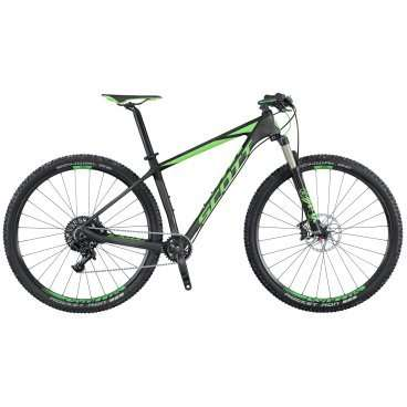 Горный велосипед Scott Scale 920 2016Горные (MTB)<br>Scott Scale 920 2016<br>SCOTT SCALE 920 - велосипед с колесами 29 на основе легендарной карбоновой рамы SCALE, укомплектованный трансмиссией SRAM GX1, воздушной амортизационной вилкой FOX и гидравлическими дисковыми тормозами. Амортизационная вилка FOX является одной из лучших вилок на рынке, ее работа не оставит равнодушным ни начиющего велосипедиста, ни велосипедиста со стажем. Главной особенностью SCOTT SCALE 920 отличающей его от младших братьев является наличие осей на вилке и раме. Крепление колес при помощи сквозных осей добавляет немного веса, но зато заметно увеличивает жесткость и надежность соединения. Сквозные оси давно уже стали стандартом для велосипедов высокого уровня. Две звезды спереди и 10 сзади дают весь необходимый диапазон передач для внедорожной езды.<br>Карбоновая рама,  система виброгашения SDS, вилка FOX CTD с тремя режимами работы, активируемые манеткой SRAM GX1, тормоза Shimano disc, оптимизированная<br><br><br><br><br><br><br><br><br>Общие характеристики<br><br><br>Модель<br>2016 года<br><br><br>Тип<br>для взрослых<br><br><br>Область применения<br>горный (MTB), кросс-кантри<br><br><br>Вес велосипеда<br>10.2 кг<br><br><br>Рама, вилка<br><br><br>Материал рамы<br>карбон (углепластик)<br><br><br>Размеры рамы<br>15.35, 17.32, 18.89, 20.86<br><br><br>Амортизация<br>Hard tail (с амортизационной вилкой)<br><br><br>Наименование мягкой вилки<br>Fox 32 Float Performance Air FIT4 3-Modes<br><br><br>Конструкция вилки<br>воздушно-масляная<br><br><br>Уровень мягкой вилки<br>профессиональный<br><br><br>Ход вилки<br>100 мм<br><br><br>Регулировки вилки<br>жесткости пружины, скорости сжатия, скорости обратного хода, блокировка хода<br><br><br>Другие регулировки<br>Scott RideLoc Downside Remote 3 modes<br><br><br>Конструкция рулевой колонки<br>полуинтегрированная, безрезьбовая<br><br><br>Размер рулевой колонки<br>1 1/8- 1 1/2<br><br><br>Колеса<br><br><br>Диаметр колес<br>29 дюймов<br><br><br>Наименование 