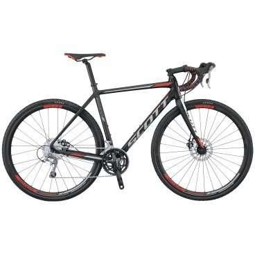 Циклокроссовый велосипед Scott Speedster CX 20 disc 2016Туристические и циклокроссовые<br>Scott Speedster CX 20 disc 2016<br><br><br><br><br><br><br><br>Общие характеристики<br><br><br>Модель<br>2016 года<br><br><br>Тип<br>для взрослых<br><br><br>Область применения<br>циклокросс<br><br><br>Вес велосипеда<br>10.72 кг<br><br><br>Рама, вилка<br><br><br>Материал рамы<br>алюминиевый сплав<br><br><br>Размеры рамы<br>19.29, 20.47, 21.25, 22.04, 22.83<br><br><br>Амортизация<br>отсутствует<br><br><br>Конструкция вилки<br>жесткая<br><br><br>Конструкция рулевой колонки<br>интегрированная, безрезьбовая<br><br><br>Размер рулевой колонки<br>1 1/8<br><br><br>Колеса<br><br><br>Диаметр колес<br>28 дюймов<br><br><br>Наименование покрышек<br>Kenda Kwick, 700x35c<br><br><br>Наименование ободов<br>Syncros CX Disc<br><br><br>Материал обода<br>алюминиевый сплав<br><br><br>Двойной обод<br>есть<br><br><br>Материал бортировочного шнура<br>кевлар<br><br><br>Торможение<br><br><br>Наименование переднего тормоза<br>Shimano BR-R317, 160mm<br><br><br>Тип переднего тормоза<br>дисковый механический<br><br><br>Уровень переднего тормоза<br>прогулочный<br><br><br>Наименование заднего тормоза<br>Shimano BR-R317, 160mm<br><br><br>Тип заднего тормоза<br>дисковый механический<br><br><br>Уровень заднего тормоза<br>прогулочный<br><br><br>Возможность крепления дискового тормоза<br>рама, вилка<br><br><br>Трансмиссия<br><br><br>Количество скоростей<br>20<br><br><br>Уровень заднего переключателя<br>спортивный<br><br><br>Наименование заднего переключателя<br>Shimano Tiagra RD-4700-GS<br><br><br>Уровень переднего переключателя<br>спортивный<br><br><br>Наименование переднего переключателя<br>Shimano Tiagra FD-4700<br><br><br>Уровень манеток<br>спортивные<br><br><br>Наименование манеток<br>Shimano Tiagra FD-4700<br><br><br>Конструкция манеток<br>Dual Control<br><br><br>Уровень каретки<br>спортивные<br><br><br>Наименование каретки<br>Shimano BB-RS500<br><br><br>Конструкция каретки<br>интегрированная<br><br><br>Уровен