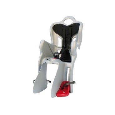 Детское велосидение на багажник BELLELLI B-One Clamp, заднее, серебряное, 01B1M00007Детское велокресло<br>Вело кресло детское заднееB-One Clamp BELLELLI(Серебряное) крепится на уже установленный задний багажник (грузоподъемность багажника не менее 25 кг, ширина 12-17,5 см) велосипеда с колесами 26-28 и позволяет перевозить ребенка до 22 кг, то есть с 1 года до 7 лет.  Вело кресло BELLELLI имеет мягкую прокладку, ремни безопасности и защиту ног от попадания в спицы.  За счет вентилируемой перфорированной спинки малышу не будет жарко в знойный день. Форма корпуса вело кресла обеспечивает защиту ребёнка по бокам.  Пряжка позволяет фиксировать ребенка в вело кресле одним движением, но при этом не может быть расстегнута ребенком случайно. Ремни безопасности с мягкими накладками могут быть отрегулированы по высоте и длине.  Велокресла BELLELLI имеют европейский сертификат качества TUV и отвечает стандарту безопасности EN 14344.  Внимание:  -Велосипедом, на котором установлено детское кресло, должен управлять опытный пользователь!  -Велокресло не может устанавливаться на велосипеды с богажником консольного типа.  -Используйте защитные средства во время катания на велосипеде (шлем/наколенники!).       ВелокреслозаднееBELLELLI B-One Clamp:  Материал:пластик.  Устанавливается:на багажник велосипеда.  Вес ребёнка:до 22 кг.  Приблизительный возраст ребёнка:~от 1 года до 7 лет.  Допустимая ширина багажника:от 12-17,5 см (багажник НЕ консольного типа).  Грузоподъёмность багажника:до 25 кг.  Колёса взрослого велосипеда:от 26 до 29.  Крепление Clamp:это быстросъёмное крепление на багажник.  Застёжки ремней:baby control (с секретом).  Регулировка ремней:есть.  Вентилируемая спинка:есть.  Защитная платформа для ног с регулировкой:есть.  В комплекте:крепление.  Цвет кресла:серебряное.  Цвет подушки:черный.  Европейский сертификат качества TUV.  Стандарт безопасности:EN 14344 .<br>