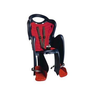 Детское велокресло на багажник BELLELLI Mr Fox Clamp заднее, до 7лет/22кг, тёмно-синее, 01FXM00005Детское велокресло<br>В детском вело креслеMr Fox ClampВашему ребенку будет комфортно сопровождать Вас во время вело путешествий. А Вам это сидение не доставит абсолютно никаких неудобств при управлении велосипедом.  В комплекте к этому креслу Вы получаете крепление Clamp. Это крепление монтируется науже установленный задний багажник (грузоподъемность багажника не менее 25 кг, ширина 12-17,5 см) велосипеда.При этом, диаметр колес должен быть не меньше 26 дюймов.  Конструкция вело кресла предусматривает элементы защиты ребенка. Благодаря гибкому стальному держателю снижается нагрузка на позвоночник малыша, ножки защищены специальными бортами, защелка ремней безопасности снабжена «секретом» - Вы сможете расстегнуть ее одной рукой, а, в то же время, ребенок случайно не сможет отстегнуться.  Комфорт создаст мягкая вкладка. Она легко снимается для стирки.  Внимание:  -Велосипедом, с установленным детским креслом, должен управлять уверенный пользователь!  -Велокресло не может устанавливаться на велосипеды с богажником консольного типа.  -Используйте защитные средства во время катания на велосипеде (шлем/наколенники!).     ВелокреслозаднееBELLELLI Mr FoxClamp:  Материал:пластик.  Устанавливается:на багажник велосипеда.  Вес ребёнка:до 22 кг.  Приблизительный возраст ребёнка:~от 1 года до 7 лет.  Допустимая ширина багажника:от 12-17,5 см (багажник НЕ консольного типа).  Грузоподъёмность багажника:до 25 кг.  Колёса взрослого велосипеда:от 26 до 29.  Крепление Clamp:это быстросъёмное крепление на багажник.  Застёжки ремней:baby control (с секретом).  Регулировка ремней:есть.  Защитная платформа для ног с регулировкой:есть.  В комплекте:крепление.  Цвет кресла:темно-сиий.  Цвет подушки:оранжевый.  Европейский сертификат качества TUV.  Стандарт безопасности:EN 14344.<br>