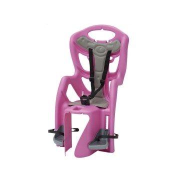 Детское велокресло на багажник BELLELLI Pepe Clamp заднее, до 7лет/22кг, розовое, 01PPM00017Детское велокресло<br>Наслаждаться прогулками на велосипеде вместе с ребенком - легко с новым задним детским велокресломPepe Clamp BELLELLI.  Это креслокрепится на уже установленный задний багажник велосипеда(грузоподъемность багажника не менее 25 кг, ширина 12-17,5 см) с колесами 26-28 и позволяет перевозить ребенка до 22 кг, то есть с 1 года до 7 лет.  Велокресло Pepe Clampимеет мягкую прокладку, ремни безопасности и защиту ног от попадания в спицы. За счет вентилируемой перфорированной спинки малышу не будет жарко в знойный день.  Форма корпуса велокресла обеспечивает защиту ребёнка по бокам. Пряжка на ремнях безопасности позволяет фиксировать ребенка в велокресле одним движением, но при этом не может быть расстегнута ребенком случайно.  Внимание:  -Велосипедом, с установленным детским креслом, должен управлять уверенный пользователь!  -Велокресло не может устанавливаться на велосипеды с богажником консольного типа.  -Используйте защитные средства во время катания на велосипеде (шлем/наколенники!).     Велокресло детскоезаднееPepe Clamp BELLELLI:  Материал:пластик.  Устанавливается:на багажник велосипеда.  Вес ребёнка:до 22 кг.  Приблизительный возраст ребёнка:~от 1 года до 7 лет.  Допустимая ширина багажника:от 12-17,5 см (багажник НЕ консольного типа).  Грузоподъёмность багажника:до 25 кг.  Колёса взрослого велосипеда:от 26 до 29.  Крепление Clamp:это быстросъёмное крепление на багажник.  Застёжки ремней:baby control (с секретом).  Регулировка ремней:есть.  Вентилируемая спинка:есть.  Защитная платформа для ног с регулировкой:есть.  В комплекте:крепление.  Цвет кресла:розовый.  Цвет подушки:голубой с рисунком.  Европейский сертификат качества TUV.  Стандарт безопасности:EN 14344.<br>