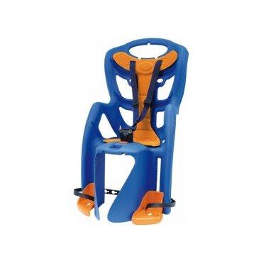 Детское велокресло на подседельную трубу BELLELLI Pepe Standard заднее, до 7лет/22кг, 01PPS00001Детское велокресло<br>Детское заднее вело креслоPepe Standard BELLELLI(Синее) крепится на велосипед сзади на подседельную трубу и позволяет перевозить ребенка с года до 7 лет. Вес ребенка не должен превышать 22 кг.  За счет вентилируемой перфорированной спинки малышу не будет жарко в знойный день. Гибкий стальной держатель снижает нагрузку на позвоночник ребенка за счет амортизации вибраций велосипеда.  Пряжка регулируется в двух позициях, позволяет зафиксировать ребенка в вело кресле одним движением, но при этом не может быть случайно расстегнута ребенком. Ремни безопасности могут быть отрегулированы по высоте и длине.  Широкая, регулируемая по высоте защита для ног, предотвращает контакт с колесом в любых положениях.  Вело кресла BELLELLI соответствуют европейскому сертификату качества TUV и отвечают стандарту безопасности EN 14344.  Требования к велосипеду: диаметр колес 26-28 дюймов, рама круглого сечения с диаметром 25-46 мм или овального сечения с размерами 30-40 мм на 38-46 мм, для установки крепления на подседельной трубе необходим участок, свободный от кронштейнов, тросиков и т.д примерно в 8 см.  Внимание:  -Велосипедом, на котором установлено детское кресло, должен управлять опытный пользователь!  -Велокресло не может устанавливаться на велосипеды с квадратной трубой рамы и на велосипеды с задней амортизацией.  -Используйте защитные средства во время катания на велосипеде (шлем/наколенники!).     ВелокреслозаднееBELLELLI Pepe Standard:  Материал:пластик.  Материал креплений:пластик/сталь.  Крепление Standardt:это крепление на раму велосипеда, под седлом.  Установка:на подседельную трубу велосипеда.  Приблизительный возраст ребёнка:~ от 1 года до 7 лет.  Вес ребёнка:до 22 кг.  Диаметр подседельной трубы:25-46 мм, либо 30-40 Х 38-46 мм.  Диаметр колёс взрослого велосипеда:от 26 до 28  Замки:baby control (с секретом).  Регулировка ремней:есть.  Вентилируемая спинк