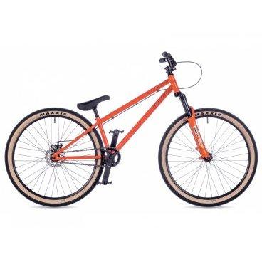 Горный велосипед AUTHOR Exe 2016Горные (MTB)<br>AUTHOR Exe 2016<br>Велосипед Author Exe 2016 – суперстильный экстрим-байк последнего поколения, предназначенный для активного катания по улицам, фристайла и стрит-езды. Любителям экстремальной езды обязательно придётся по душе такой яркий велосипед. Усовершенствованная модель получила более крепкий руль и прочную стальную хромолибденовую раму с заниженной геометрией. Велосипед имеет всего одну скорость и надёжную систему торможения. Большие колёса с оригинальными по дизайну покрышками позволяют кататься на таком велосипеде по различным поверхностям и преодолевать всяческие препятствия.<br><br><br><br><br><br><br><br><br>Общие характеристики<br><br><br>Модель<br>2016 года<br><br><br>Тип<br>для взрослых<br><br><br>Область применения<br>горный (MTB), стрит<br><br><br>Вес велосипеда<br>13.7 кг<br><br><br>Рама, вилка<br><br><br>Материал рамы<br>хроммолибденовый сплав<br><br><br>Размеры рамы<br>11<br><br><br>Амортизация<br>Hard tail (с амортизационной вилкой)<br><br><br>Наименование мягкой вилки<br>RST Dirt T<br><br><br>Конструкция вилки<br>пружинно-масляная<br><br><br>Уровень мягкой вилки<br>прогулочный<br><br><br>Ход вилки<br>100 мм<br><br><br>Регулировки вилки<br>жесткости пружины<br><br><br>Конструкция рулевой колонки<br>интегрированная, безрезьбовая<br><br><br>Размер рулевой колонки<br>1 1/8<br><br><br>Колеса<br><br><br>Диаметр колес<br>26 дюймов<br><br><br>Наименование покрышек<br>Maxxis DTH, 26x2.15<br><br><br>Наименование ободов<br>alloy 36 holes<br><br><br>Материал обода<br>алюминиевый сплав<br><br><br>Материал бортировочного шнура<br>кевлар<br><br><br>Торможение<br><br><br>Тип переднего тормоза<br>отсутствует<br><br><br>Наименование заднего тормоза<br>Tektro Aries, 125mm<br><br><br>Тип заднего тормоза<br>дисковый механический<br><br><br>Уровень заднего тормоза<br>прогулочный<br><br><br>Возможность крепления дискового тормоза<br>рама, вилка, втулки<br><br><br>Трансмиссия<br><br><br>Количество скоростей<br>1<br><br><