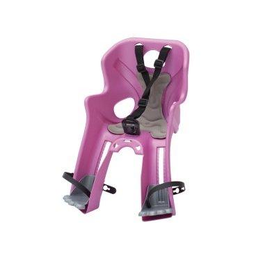 Велокресло детское BELLELLI Rabbit B-Fix, переднее, розовое, 01RBTB0017Детское велокресло<br>Велокресло детское BELLELLI переднее Rabbit B-Fix<br>Велокресло переднее Rabbit с креплением B-Fix - это новинка 2016 года от BELLELLI.  <br>Крепление этого кресла обладает дополнительной опцией «контроль». То есть, без специального ключа снять или установить кресло не возможно.  <br>Кресло Rabbit B-Fix устанавливается на рулевой стакан либо на нижнюю трубу рамы байка.  <br>Рама велосипеда должна быть либо круглого (28-45 мм), либо овального сечения (28-60 мм).<br>Велокресло изготовлено из прочного пластика, оно цельное, без неудобных стыков. Внутри мягкий вкладыш, который всегда можно постирать.  <br>Защита ног от соприкосновения с колесом, надежные ремни безопасности, высокие боковины. <br>Отличительная особенность модели Rabbit подножки в виде лапок зайца. <br>Вес ребёнка: не более 15 кг.<br>Возраст ребёнка: ~ 3-4 года.<br>Материал: пластик.<br>Материал крепления: сталь.<br>Крепление B-Fix: это крепление на  рулевой стакан либо на нижнюю трубу рамы велосипеда.<br>Крепление: на рулевую трубу рамы<br>Цвет: розовый<br>Артикул: 01RBTB0017<br>