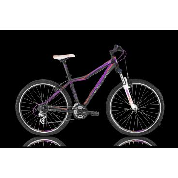 Женский горный велосипед KELLYS VANITY 30 2016Горные (MTB)<br>KELLYS VANITY 30 2016<br>Женский горный велосипед начального уровня. Данная модель отлично подойдет тем, кто только начинает увлекаться велосипедной ездой. Навесное оборудование начального уровня, ободные V-Brake тормоза и амортизационная вилка с ходом в 100 мм.<br><br><br><br><br><br><br>Общие характеристики<br><br><br>Модель<br>2016 года<br><br><br>Тип<br>для взрослых, женская модель<br><br><br>Область применения<br>горный (MTB), кросс-кантри<br><br><br>Вес велосипеда<br>13,82 кг<br><br><br>Рама, вилка<br><br><br>Материал рамы<br>алюминиевый сплав<br><br><br>Размеры рамы<br>15.0, 17.0, 19.0<br><br><br>Амортизация<br>Hard tail (с амортизационной вилкой)<br><br><br>Наименование мягкой вилки<br>SR Suntour XCT-HLO 26 Coil<br><br><br>Конструкция вилки<br>пружинно-масляная<br><br><br>Уровень мягкой вилки<br>спортивный <br><br><br>Ход вилки<br>100 мм<br><br><br>Регулировки вилки<br>жесткости пружины, блокировка хода<br><br><br>Конструкция рулевой колонки<br>полуинтегрированная, безрезьбовая<br><br><br>Размер рулевой колонки<br>1 1/8<br><br><br>Колеса<br><br><br>Диаметр колес<br>26 дюймов<br><br><br>Наименование покрышек<br>Innova 54-559, 26x2.0<br><br><br>Наименование ободов<br>KLS Draft, 559x19<br><br><br>Материал обода<br>алюминиевый сплав<br><br><br>Двойной обод<br>есть<br><br><br>Материал бортировочного шнура<br>металл<br><br><br>Торможение<br><br><br>Наименование переднего тормоза<br>Tektro<br><br><br>Тип переднего тормоза<br>V-Brake<br><br><br>Уровень переднего тормоза<br>прогулочный<br><br><br>Наименование заднего тормоза<br>Tektro<br><br><br>Тип заднего тормоза<br>V-Brake<br><br><br>Уровень заднего тормоза<br>прогулочный<br><br><br>Возможность крепления дискового тормоза<br><br>рама<br><br><br>Трансмиссия<br><br><br>Количество скоростей<br>24<br><br><br>Уровень заднего переключателя<br>прогулочный<br><br><br>Наименование заднего переключателя<br>Shimano Altus RD-M310<br><br><br>Уровень переднего перекл