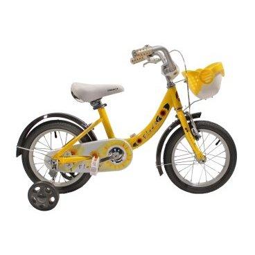 Детский велосипед GRAVITY FLOWER 2015Детские<br>GRAVITY FLOWER 2015<br>GRAVITY FLOWER, стильный детский велосипед, не оставит не замеченным вашего ребенка, рама выполнена из прочного и легкого алюминиевого сплава, ножной задний и ручной передний тормоз, боковые колеса позволят вашему ребенку научиться быстро кататься на велосипеде, что ускоряет развитие ребенка, полноразмерные крылья защитят от попадания грязи, цепь надежна защищена пластиковой защитой, что обезопасит катание, возможность регулировки руля и седла по высоте.<br><br><br><br><br><br>Общие характеристики<br><br><br>Модель<br>2015 года<br><br><br>Тип<br>детский<br><br><br>Возраст ребенка<br>Возраст 3 - 5 лет, рост до 115 см<br><br><br>Вес велосипеда<br>9.4 кг<br><br><br>Рама, вилка<br><br><br>Материал рамы<br>алюминиевый сплав<br><br><br>Амортизация<br>отсутствует<br><br><br>Конструкция вилки<br>жесткая<br><br><br>Конструкция рулевой колонки<br>неинтегрированная, резьбовая<br><br><br>Колеса<br><br><br>Диаметр колес<br>14 дюймов<br><br><br>Материал обода<br>алюминиевый сплав<br><br><br>Двойной обод<br>нет<br><br><br>Материал бортировочного шнура<br>металл<br><br><br>Возможность крепления боковых колес<br>есть<br><br><br>Боковые колеса в комплекте<br>есть<br><br><br>Торможение<br><br><br>Тип переднего тормоза<br>V-Brake<br><br><br>Уровень переднего тормоза<br>начальный<br><br><br>Тип заднего тормоза<br>ножной<br><br><br>Уровень заднего тормоза<br>начальный<br><br><br>Трансмиссия<br><br><br>Количество скоростей<br>1<br><br><br>Уровень каретки<br>начальные<br><br><br>Конструкция каретки<br>неинтегрированная<br><br><br>Уровень кассеты<br>начальные<br><br><br>Количество звезд в кассете<br>1<br><br><br>Количество звезд системы<br>1<br><br><br>Конструкция педалей<br>классическая<br><br><br>Руль<br><br><br>Конструкция руля<br>изогнутый<br><br><br>Настройка положения руля<br>регулируемый подъем<br><br><br>Дополнительная информация<br><br><br>Звонок<br>есть<br><br><br>Защитная накладка на руле<br>есть<br><br><br>За