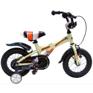 Детский велосипед GRAVITY Speed 2015Детские<br>GRAVITY Speed 2015<br>Gravity Speed - детский велосипед для детей от трех лет, легкая и прочная алюминиевая рама, стильный современный дизайн, удобный широкий руль, позволит вашему ребенку максимально комфортно чувствовать себя на велосипеде, возможность регулировки руля по высоте и углу наклона, ножной и ручной тормоз, регулируемые боковые колеса, крылья.<br><br><br><br><br><br>Общие характеристики<br><br><br>Модель<br>2015 года<br><br><br>Тип<br>детский<br><br><br>Возраст ребенка<br>2 - 4 года, рост до 105 см<br><br><br>Рама, вилка<br><br><br>Материал рамы<br>алюминиевый сплав<br><br><br>Амортизация<br>отсутствует<br><br><br>Конструкция вилки<br>жесткая<br><br><br>Конструкция рулевой колонки<br>неинтегрированная, резьбовая<br><br><br>Колеса<br><br><br>Диаметр колес<br>12 дюймов<br><br><br>Материал обода<br>алюминиевый сплав<br><br><br>Двойной обод<br>нет<br><br><br>Материал бортировочного шнура<br>металл<br><br><br>Возможность крепления боковых колес<br>есть<br><br><br>Боковые колеса в комплекте<br>есть<br><br><br>Торможение<br><br><br>Тип переднего тормоза<br>V-Brake<br><br><br>Уровень переднего тормоза<br>начальный<br><br><br>Тип заднего тормоза<br>ножной<br><br><br>Уровень заднего тормоза<br>начальный<br><br><br>Трансмиссия<br><br><br>Количество скоростей<br>1<br><br><br>Уровень каретки<br>начальные<br><br><br>Уровень кассеты<br>начальные<br><br><br>Количество звезд в кассете<br>1<br><br><br>Количество звезд системы<br>1<br><br><br>Конструкция педалей<br>классическая<br><br><br>Руль<br><br><br>Конструкция руля<br>изогнутый<br><br><br>Настройка положения руля<br>регулируемый подъем<br><br><br>Дополнительная информация<br><br><br>Защитная накладка на руле<br>есть<br><br><br>Защитная цепи<br>есть<br><br><br>Комплектация<br>крылья<br>