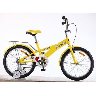 Детский велосипед GRAVITY Sunny 2015Детские<br>GRAVITY Sunny 2015<br>Велосипед детский Gravity Sunny 20. Обода алюминий. Передний ручной тормоз + задняя тормозная втулка. Полноразмерные металлические крылья и защита цепи в цвет рамы. Цветное седло. Поддерживающие боковые колесики. Детские модели велосипедов это производителя поражают как своим ярким и необычным дизайном, так и качеством. Представленная модель удачно сочетает в себе ряд плюсов: Здесь удачно воплощены лучшие элементы.<br><br><br><br><br><br>Общие характеристики<br><br><br>Модель<br>2015 года<br><br><br>Тип<br>детский<br><br><br>Возраст ребенка<br>Возраст 6 - 9 лет, рост до 135 см<br><br><br>Рама, вилка<br><br><br>Материал рамы<br>алюминиевый сплав<br><br><br>Амортизация<br>отсутствует<br><br><br>Конструкция вилки<br>жесткая<br><br><br>Конструкция рулевой колонки<br>неинтегрированная, резьбовая<br><br><br>Колеса<br><br><br>Диаметр колес<br>20 дюймов<br><br><br>Материал обода<br>алюминиевый сплав<br><br><br>Двойной обод<br>нет<br><br><br>Материал бортировочного шнура<br>металл<br><br><br>Возможность крепления боковых колес<br>есть<br><br><br>Боковые колеса в комплекте<br>есть<br><br><br>Торможение<br><br><br>Тип переднего тормоза<br>V-Brake<br><br><br>Уровень переднего тормоза<br>начальный<br><br><br>Тип заднего тормоза<br>ножной<br><br><br>Уровень заднего тормоза<br>начальный<br><br><br>Трансмиссия<br><br><br>Количество скоростей<br>1<br><br><br>Уровень каретки<br>начальные<br><br><br>Конструкция каретки<br>неинтегрированная<br><br><br>Уровень кассеты<br>начальные<br><br><br>Количество звезд в кассете<br>1<br><br><br>Количество звезд системы<br>1<br><br><br>Конструкция педалей<br>классическая<br><br><br>Руль<br><br><br>Конструкция руля<br>изогнутый<br><br><br>Настройка положения руля<br>регулируемый подъем<br><br><br>Дополнительная информация<br><br><br>Защитная накладка на руле<br>есть<br><br><br>Защитная цепи<br>есть<br><br><br>Подножка<br>есть<br><br><br>Звонок<br>есть<br><br><br>Комплектация<br>баг