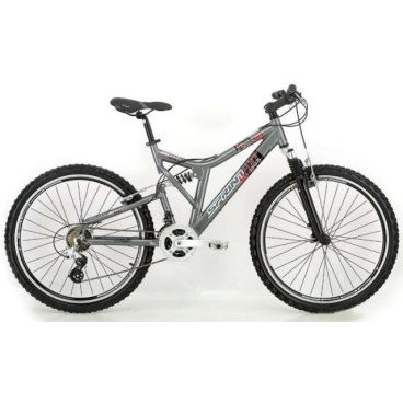 Двухподвесный велосипед SPRINT TOP GUNДвухподвесные<br>SPRINT TOP GUN<br>SPRINT TOP GUN - двухподвесный велосипед начального уровня на колесах 26 с установленым оборудованием известной фирмы Shimano<br><br><br><br><br><br><br><br>Общие характеристики<br><br><br>Тип<br>для взрослых<br><br><br>Область применения<br>горный (MTB)<br><br><br>Вес велосипеда<br>15,00 кг<br><br><br>Рама, вилка<br><br><br>Материал рамы<br>алюминиевый сплав<br><br><br>Амортизация<br>двухподвесный<br><br><br>Наименование мягкой вилки<br>ZOOM CH-550 EN AMS<br><br><br>Конструкция вилки<br>пружино-эластомерная<br><br><br>Уровень мягкой вилки<br>начальный<br><br><br>Ход вилки<br>75 мм<br><br><br>Ход задней подвески<br>150 мм<br><br><br>Колеса<br><br><br>Диаметр колес<br>26 дюймов<br><br><br>Наименование покрышек<br>KENDA, 26x2.10<br><br><br>Наименование ободов<br>HDP, 32 спицы<br><br><br>Материал обода<br>алюминиевый сплав<br><br><br>Двойной обод<br>есть<br><br><br>Торможение<br><br><br>Наименование переднего тормоза<br>LB-927AE<br><br><br>Тип переднего тормоза<br>V-brake<br><br><br>Уровень переднего тормоза<br>начальный<br><br><br>Наименование заднего тормоза<br>LB-927AE<br><br><br>Тип заднего тормоза<br>V-brake<br><br><br>Уровень заднего тормоза<br>начальный<br><br><br>Трансмиссия<br><br><br>Количество скоростей<br>21<br><br><br>Уровень заднего переключателя<br>начальный<br><br><br>Наименование заднего переключателя<br>SHIMANO RD-M340-MR<br><br><br>Уровень переднего переключателя<br>начальный<br><br><br>Наименование переднего переключателя<br>SHIMANO FD-TZ20<br><br><br>Уровень манеток<br>начальные<br><br><br>Наименование манеток<br>SHIMANO ST-EF50<br><br><br>Конструкция манеток<br>триггерные двухрычажные<br><br><br>Уровень каретки<br>начальные<br><br><br>Наименование каретки<br>THUN SEMI-CARTRIDGE MOD. TWIST S-INNENL., 128K/123mm, JIS, W:A2B, (1502311)<br><br><br>Уровень кассеты<br>начальная<br><br><br>Наименование кассеты<br>SHIMANO MF-TZ21, 14-28T<br><br><br>Количество звезд в кассете<br>7<br>