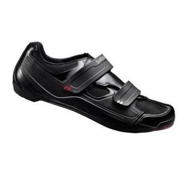 Велотуфли Shimano SH-R065L, р-р 45, черный, ESHR065G450LВелообувь<br>Велотуфли Shimano SH-R065L - универсальные велотуфли, подойдут для кросс-кантри, шоссе и триатлона<br>ВЕРХ<br>Гибкая мелкая сетка с синтетической кожей высокой плотности<br>Двойные ремешки дают высокий уровень комфорта и поддержку<br>Стелька<br>Плоская стелька обеспечивает комфорт, равномерную амортизацию и легкость<br>КОЛОДКА<br>Точное прилегание и высокую эффективность педалирования обеспечивает SHIMANO Dynalast<br><br>ПОДОШВА<br>Полиамидная вставка, усиленная стекловолокном для оптимальной жесткости подошвы.<br>Прекрасно подойдут  для занятий в помещениях, совместимы с шипами SPD и SPD-SL <br>Размер: 45 <br>Цвет: черный<br>