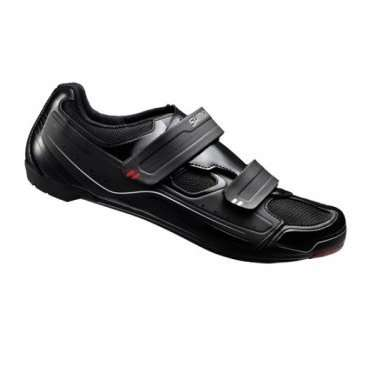 Велотуфли Shimano SH-R065L, р-р 48, черный, ESHR065G480LВелообувь<br>Велотуфли Shimano SH-R065L - универсальные велотуфли, подойдут для кросс-кантри, шоссе и триатлона<br>ВЕРХ<br>Гибкая мелкая сетка с синтетической кожей высокой плотности<br>Двойные ремешки дают высокий уровень комфорта и поддержку<br>Стелька<br>Плоская стелька обеспечивает комфорт, равномерную амортизацию и легкость<br>КОЛОДКА<br>Точное прилегание и высокую эффективность педалирования обеспечивает SHIMANO Dynalast<br><br>ПОДОШВА<br>Полиамидная вставка, усиленная стекловолокном для оптимальной жесткости подошвы.<br>Прекрасно подойдут  для занятий в помещениях, совместимы с шипами SPD и SPD-SL <br>Размер: 48 <br>Цвет: черный<br>