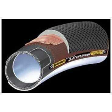 Велосипедная покрышка Continental Gator Skin, 700 x 25C, 25-622, борт-кевларВелопокрышки<br>Давление: 95 -120 PSI, 6,5-8,5 BAR<br>Вес:335г<br>