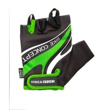 Перчатки Vinca sport VG 949, мужские, черно-зеленые, M, гелевые вставки, VG 949 black/green (M)Велоперчатки<br>Мужские велосипедные перчатки без пальцев. Верхняя часть из лайкры дышит и садится по руке. Манжета с застёжкой на липучке. Ладонь из искусственной замши с гелевыми вставки на ладони для гашения вибрации, амортизации ударов и обеспечивая высокий уровень комфорта во время катания. Стильный спортивный дизайн.<br><br><br>Ширина лодони:  98 мм.<br>Длина среднего пальца: 26 мм.<br>