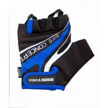 Перчатки Vinca sport VG 949, мужские, черно-синие, M, гелевые вставки, VG 949 black/blue (M)Велоперчатки<br>Мужские велосипедные перчатки без пальцев. Верхняя часть из лайкры дышит и садится по руке. Манжета с застёжкой на липучке. Ладонь из искусственной замши с гелевыми вставки на ладони для гашения вибрации, амортизации ударов и обеспечивая высокий уровень комфорта во время катания. Стильный спортивный дизайн.<br>
