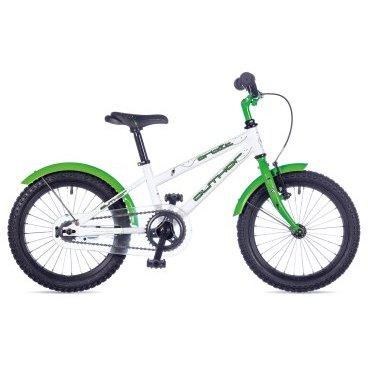 Детский велосипед AUTHOR Orbit 2017Детские<br>AUTHOR ORBIT 2017<br>Велосипед оснащен металлическими крыльями, которые будут защищать вашего малыша от грязи и брызг луж. Цепь велосипеда надежно защищена защитным пластиковым кожухом, что защищает штаны от попадания в неё.Также в комплекте идут приставные колесики, которые можно снять, когда ребенок научится уверенно держать равновесие.<br><br><br><br><br><br>Общие характеристики<br><br><br>Модель<br>2017 года<br><br><br>Тип<br>детский<br><br><br>Область применения<br>городской<br><br><br>Рама, вилка<br><br><br>Материал рамы<br>сталь<br><br><br>Амортизация<br>отсутствует<br><br><br>Конструкция мягкой вилки<br>жесткая<br><br><br>Рулевая колонка<br>VP COMP 1<br><br><br>Колеса<br><br><br>Диаметр колес<br>16 дюймов<br><br><br>Наименование покрышек<br>16 x 1.75<br><br><br>Наименование ободов<br>alloy 28 holes<br><br><br>Торможение<br><br><br>Наименование переднего тормоза<br>TEKTRO V<br><br><br>Тип переднего тормоза<br>ободной <br><br><br>Тип заднего тормоза<br>ножной<br><br><br>Трансмиссия<br><br><br>Количество скоростей<br>1<br><br><br>Наименование заднего переключателя<br>отсутствует<br><br><br>Наименование переднего переключателя<br>отсутствует<br><br>Наименование манеток<br>отсутствует<br><br><br>Наименование каретки<br>VP COMP<br><br><br>Наименование кассеты<br>coasterhub 16T<br><br><br>Количество звезд в кассете<br>1<br><br><br>Система<br>PROWHEEL 32 teeth 102 mm cranks<br><br><br>Конструкция педалей<br>классические<br><br><br>Руль<br><br><br>Конструкция руля<br>изогнутый<br>