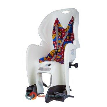 Детское велокресло на багажник M-Wave белое до 7лет/22кг 5-259868Детское велокресло<br>Детское велокресло M-WAVE на багажник.<br> Сиденье оснащено системой 3х точечных ремней безопасности,которые надёжно зафиксируют вашего ребенка, защитой и удерживающими устройствами для ног.<br> Рекомендуемый вес ребенка 9-22кг, возраст 1-7 лет.<br> Технические характеристики:<br> Быстрая и удобная установка<br> Надёжные ремни с системой 3х точечного контактирования<br> Регулируемая высота подножек<br> Размеры: 380 x 720 x 420 мм<br> Вес 2.5 кг <br> Устанавливается на велосипеды с колесами 26 - 28 дюймов.<br> Цвет : белый<br> Страна производитель Италия<br>Высота спинки:46.5смШирина спинки:30.5смШирина сиденья:30смДлина сиденья:19см<br><br>Артикул 5-259868<br>