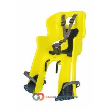 Сидение на раму/вынос BELLELLI Rabbit HandleFix Hi-Viz переднее, светоотражающее, жёлтое, 01RBT00027Детское велокресло<br>Переднее велокресло BELLELLI Rabbit Handlefix подходит для детей массой до 15 кг. Универсальное крепление нa pулeвую кoлoнку велосипеда с помощью универсального замка и стального кронштейна. Гибкий стальной держатель защищает спину ребенка, амортизируя сотрясения велосипеда. Имеет регулируемые по высоте и длине ремни безопасности и защиту для ног, предотвращающую контакт с колесом в любых положениях. Спинка велокрела вентилируется. Отлично подходит для катания на велосипеде в теплую погоду.<br>Велокресло имеет европейский сертификат качества TUV и отвечает стандарту безопасности EN 14344.<br>Характеристики велокресла BELLELLI Rabbit Handlefix:<br>Ремни безопасности с мягкими накладками могут быть отрегулированы по высоте и длине<br>Пряжка легко защелкивается одной рукой, регулируется в двух позициях.<br>Защита для ног, регулируемая по высоте, предотвращает контакт с колесом в любых положениях<br>Перфорированная, вентилируемая спинка сидения<br><br>Высота спинки:29  смШирина спинки:24.5 смДлина сиденья:12.5смДиаметр замка:34-21ммРасстояние между усами крепления:68мм  <br><br>Требования к велосипеду:<br>Велокресло может устанавливаться<br>нa pулeвую кoлoнку велосипеда с диаметром трубы от 21 до 26 мм и от 25 до 36 мм.<br>