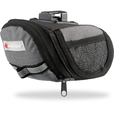 Сумка подседельная для велосипеда Kross BAG 200, 16*9*9.5cm, черно-серая, T4CTO000128Велосумки<br>Сумка с системой быстрого монтажа. Оснащена отражающей лентой, имеющую<br>видимость, а также два боковых кармана сделаных из сетки.<br> Характеристики <br>Материал: водонепроницаемый Полиэстер 600D<br>Система крепления: Clip system<br>Дополнительные сведения:<br>- светоотражающая лента<br>- ремень для крепления заднего индикатора<br>- два боковых кармана из сетки<br>Размер: 16x9x9,5 см<br>Вес: 150 г<br>
