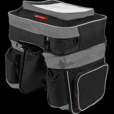 Сумка на багажник велосипеда Kross TRIPLE PANNIER BAG, 41*12*35cm 29*14*25cm, черная, T4CTO000147Велосумки<br>Вместительная велосипедная дорожная сумка изготовлена из водоотталкивающего нейлона. Съемная верхняя перегородка, имеющая специальную карман на карту. Светоотражающие элементы обеспечивают безопасность даже в условиях ограниченной видимости.<br> Характеристики <br>Система крепления: Система стабилизирующих ремней на липучке<br>Материал: водонепроницаемый нейлон<br>Аксессуары: верхняя сумка - съемный, два кармана, карман для карты, плечевой ремень; сумка боковая - главный отсек, два боковых кармана, светоотражающие подол. Все карманы на молнии<br>Размер: сумка верхняя 41 x 12 x 35 см, сумка боковая 29 x 14 x 25 см<br>