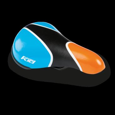Седло велосипедное детское Kross TIKE, оранжево-синий, 217x142 мм, T4CSI000854BLORСедла для велосипедов<br>Удобное седло, предназначенное для детских велосипедов, изготовлено из пенопласта высокой плотности. Покрытие синтетической кожей обеспечивает высокий уровень комфорта.<br> Характеристики <br>Покрытие: синтетическая кожа<br>Материал наполнителя: пена высокой плотности<br>Стержни: 7 мм сталь <br>Категория: детское велокресло <br>Размеры: 217 x 142 мм<br>Вес: 279 г<br>