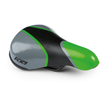 Седло велосипедное детское Kross TIKE, 217x142 мм, серо-зеленый, T4CSI000854GRGYСедла для велосипедов<br>Удобное седло, предназначенное для детских велосипедов, изготовлено из пенопласта высокой плотности. Покрытие синтетической кожей обеспечивает высокий уровень комфорта.<br> Характеристики <br>Покрытие: синтетическая кожа<br>Материал наполнителя: пена высокой плотности<br>Стержни: 7 мм сталь <br>Категория: детское велокресло <br>Размеры: 217 x 142 мм<br>Вес: 279 г<br>