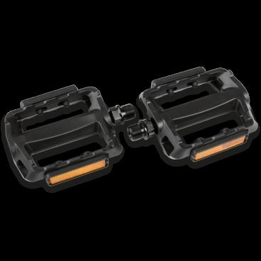 Педали велосипедные Kross BEDROCK, 100x78mm, пластик/сталь,  T4CPE000213Педали для велосипедов<br>Подходят для  прогулочных  велосипедов, сделанные из пластмассы и стали. Обеспечивают хорошее сцепление для обуви. Встроенные отражатели усиливают<br>видимость на дороге.<br> Характеристики <br>Использование треккинг: Город <br>Материал корпуса: пластик композит<br>Ось: сталь<br>Подшипник: шариковый система, кроме бокового отражателя<br>Размеры платформы: 100x78mm<br>Вес 238g /  пара<br>