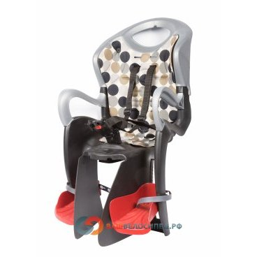 Сидение на подсидельную трубу BELLELLI Tiger Relax, цвет чёрно-серебряное, 01TGTR00002Детское велокресло<br>Детское велокресло BELLELLI Tiger Relax крепится на велосипед сзади на подседельную трубу и позволяет перевозить ребенка с года до 7 лет. За счет вентилируемой перфорированной спинки малышу не будет жарко в знойный день. Пряжка позволяет зафиксировать ребенка в велокресле одним движением, но при этом не может быть случайно расстегнута ребенком. <br><br>Велокресло имеет европейский сертификат качества TUV и отвечает стандарту безопасности EN 14344.<br><br>Характеристики велокресла BELLELLI Tiger Relax:<br>Заднее велосипедное сидение для детей до 22 кг (до 7 лет)<br>Регулируемая по высоте спинка<br>Регулируется угол наклона кресла<br>Ремни безопасности с мягкими накладками могут быть отрегулированы по высоте и длине<br>Пряжка легко защелкивается одной рукой, регулируется в двух позициях<br>Широкая защита для ног, регулируемая по высоте, предотвращает контакт с колесом в любых положениях<br>Перфорированная, вентилируемая спинка сидения<br><br>Требования к велосипеду:<br>Рама круглого сечения с диаметром 25-46 мм или рама овального сечения с размерами 30-40 мм на 38-46 мм;<br>Диаметр колес 26-28;<br>Максимальный вес ребенка 22 кг.<br>Велокресло не может устанавливаться на велосипеды с квадратной трубой рамы и на велосипеды оснащенные задней амортизацией.<br><br>  Высота спинки:53смШирина спинки:30смДлина сиденья:15 смДиаметр замка:46-25ммРасстояние между усами крепления:75мм<br>
