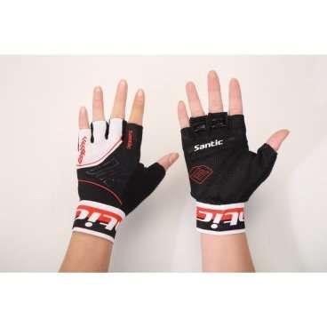 Перчатки Santic, короткие  пальцы, размер XL, черно-белый, 6C09048XLВелоперчатки<br>Размер: XL (EU-L) <br>Цвет: черно -белый<br><br>Ширина лодони: 97 мм.<br>Длина среднего пальца: 35 мм.<br>