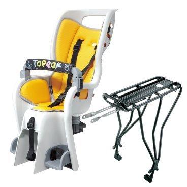 Детское кресло с багажником TOPEAK Baby Seat II, для колес 26, 27.5 и 700С, желтый, TCS2205Детское велокресло<br>Детское кресло из прочного пластика с безопасной конструкцией в виде кокона. Новые плечевые ремни с системой многократной регулировки по высоте. Инновационная система амортизации ударов и вибраций. Интегрированный трубчатый каркас обеспечивает дополнительную защиту головы и служит ручкой для переноски. Детское кресло TOPEAK Baby Seat II соответствует самым строгим европейским стандартам безопасности.<br> Характеристики <br>Корпус велокресла:Высокотехнологичный безопасный пластик<br>Безопасность:Регулируемые подставки для ног с ремнями<br>Трубчатый каркас<br>Ремни безопасности с множественной регулировкой<br>Полностью закрывает тело<br>Светоотражатель<br>Багажник: Алюминиевый 6061 T-6 полые трубки<br>Макс. вес: (сиденье)22 кг<br>Макс. вес: (багажник)25 кг<br><br>Вес товара3.13 кг (сиденье)<br>630 гр (багажник)<br>Совместимо с колесами 26, 27.5(650B) и 700С и дисковыми тормозами.<br>
