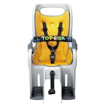 Детское кресло Topeak Baby Seat II, без багажника, желтый, TCS2203Детское велокресло<br>Детское кресло из прочного пластика с безопасной конструкцией в виде кокона. Новые плечевые ремни с системой многократной регулировки по высоте. Инновационная система амортизации ударов и вибраций. Интегрированный трубчатый каркас обеспечивает дополнительную защиту головы и служит ручкой для переноски. Детское кресло TOPEAK Baby Seat II соответствует самым строгим европейским стандартам безопасности.<br> Характеристики <br><br>Цвет:Желтый<br>Амортизация:Двойная пружина<br>Корпус велокресла:Высокотехнологичный безопасный пластик<br>Безопасность:Регулируемые подставки для ног с ремнями<br>Трубчатый каркас<br>Ремни безопасности с множественной регулировкой<br>Полностью закрывает тело<br>Светоотражатель<br>Макс. вес: (сиденье)22 кг<br>Вес товара:3.13 кг (сиденье)<br>РазмерыСиденье: 58.5 x 39.5 x 77.4 cm<br>