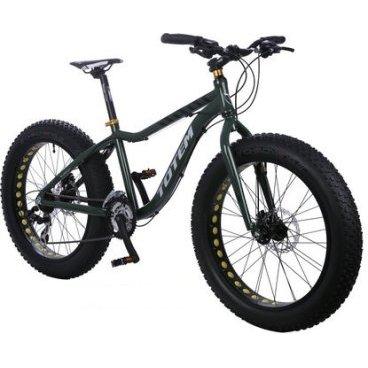 Фэтбайк Totem 2016, зелёный, подростковый, 21 скорость, колёса 24 x 4.0, T15B803Фэтбайки<br>Рама / FRAME: 15 Алюминий сплав 6061 FAT Bike с держателем под флягу<br>Вилка / FORK: Сталь<br>Манетки / SHIFTER? SHIMANO ST-EF41-3L/7R 21speed<br>Передний переключатель / FRONT DERAILLEUR? SHIMANO FD-M410E<br>Задний переключатель / REAR DERAILLEUR? SHIMANO RD-TX35<br>Шатуны (с защитой) / CRANKS? PROWHEEL MC-A326 22/32/42T<br>Каретка / BB: NECO B910<br>Кассета / GEAR: 14-28T<br>Цепь / CHAIN? KMC Z33<br>Педали / PEDALS: FEIMIN FP-917<br>Передняя втулка / FRONT HUB? STEEL 36 Спиц<br>Задняя втулка / REAR HUB: STEEL 36 Спиц<br>Обода / RIMS: Алюминиевый 36 Спиц<br>Покрышка / TIRES: CHAOYANG Big Daddy H-5176, 24 * 4.0, 120 TPI, фолдинговые, двойной компаунд (2C-MTB)<br>Вынос руля / STEM? MODE MD-HS127, Алюминий<br>Руль / HANDLEBAR? MODE 640 мм, Сталь<br>Тормоза / BRAKES? Дисковые, Механические<br>Сиденье / SEAT? VADER<br>Подседельный штырь / SEAT POST? Алюминиевый с зажимом, диаметр 30.9 мм, Высота 300 мм<br>Вес кг / weight kg: 16.5<br>Подножка / kickstand: Есть<br>Размер в упаковке сантиметры / size in box cm: 146x27x72<br>